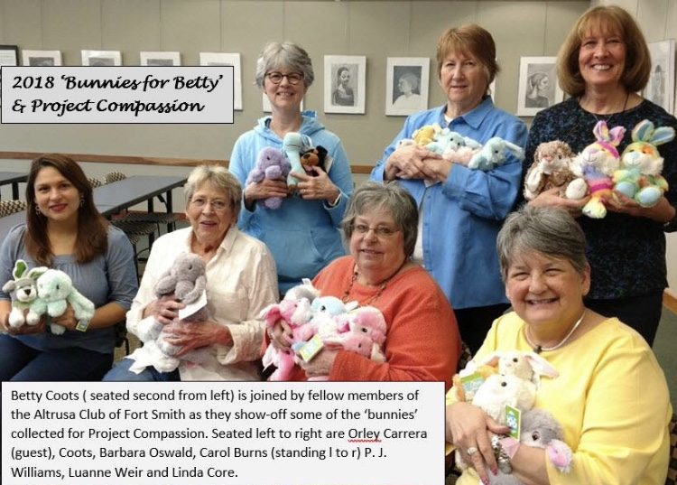 Altrusa Club of Ft Smith members  collect bunnies for our Spring programs.